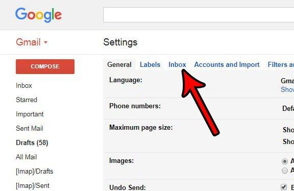 как изменить тип входящих сообщений в gmail