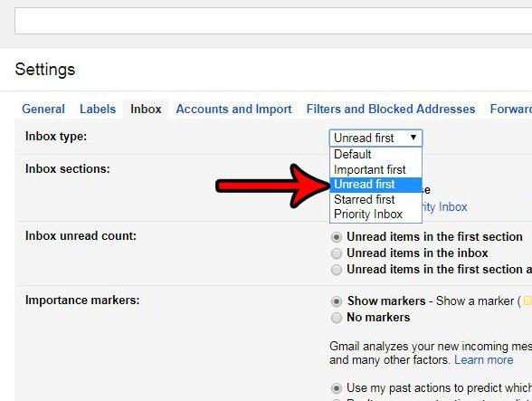 как показывать непрочитанные письма сначала в gmail