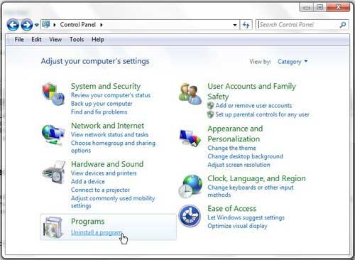 Windows 7 удалить программу