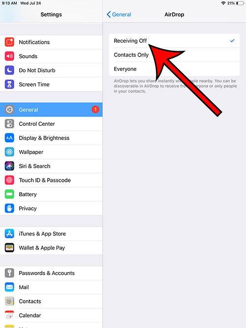 как отключить прием AirDrop на iPad