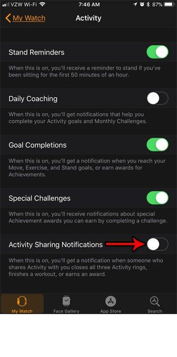 как отключить уведомления об активности от Apple watch