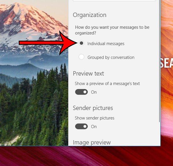 как отключить просмотр разговора в windows 10 mail