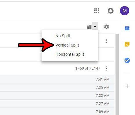 как использовать вертикальный разделенный вид в Gmail