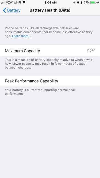 как посмотреть состояние батареи iphone
