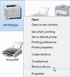 Удалить устройство HP 2055dn