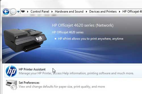 Дважды щелкните значок HP Printer Assistant