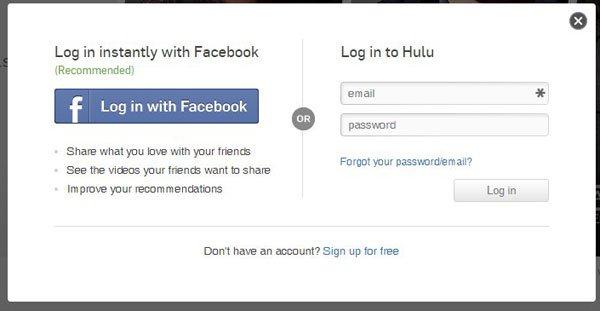 введите свои учетные данные Hulu