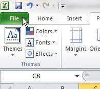 вкладка файла Excel 2010 в верхнем левом углу