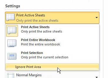как игнорировать область печати в Excel 2010