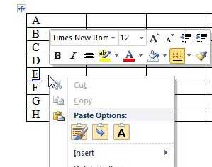 щелкните правой кнопкой мыши по целевой строке в таблице