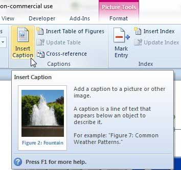 Как вставить заголовок изображения в Word 2010