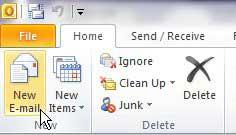 создать новое сообщение в Outlook 2010