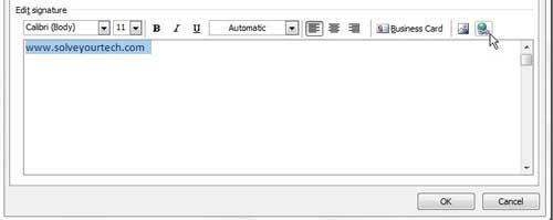 как добавить ссылку на свою подпись в Outlook 2010