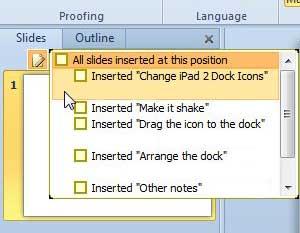 выберите слайды PowerPoint для вставки