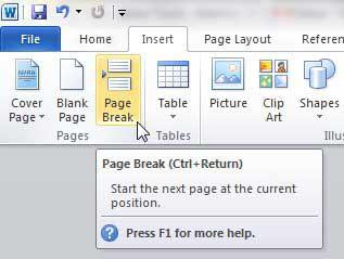 Как вставить разрыв страницы в Word 2010