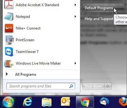 выберите программы Windows 7 по умолчанию