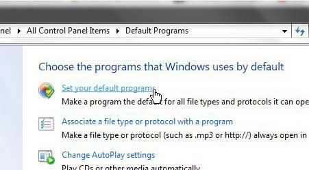 Windows 7 установить ваши программы по умолчанию