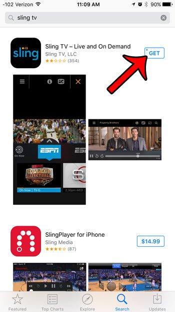 получить приложение слинг ТВ