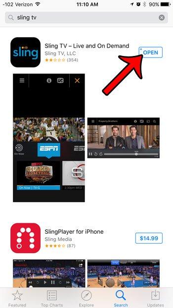 открыть приложение Sling TV