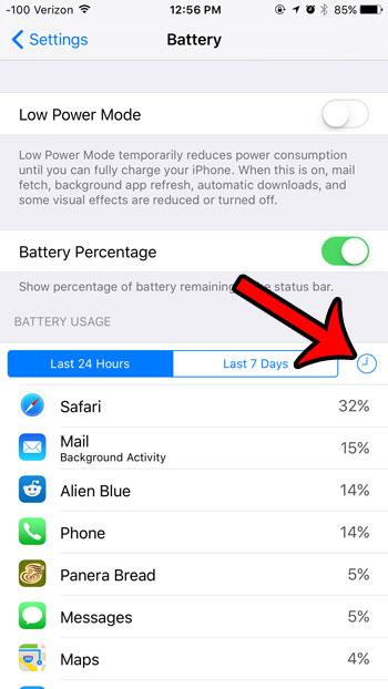 просмотреть информацию об использовании батареи в IOS 9