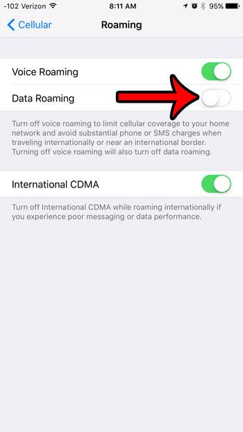 отключить роуминг данных в ios 9
