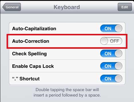 отключить функцию автокоррекции на ipad 2