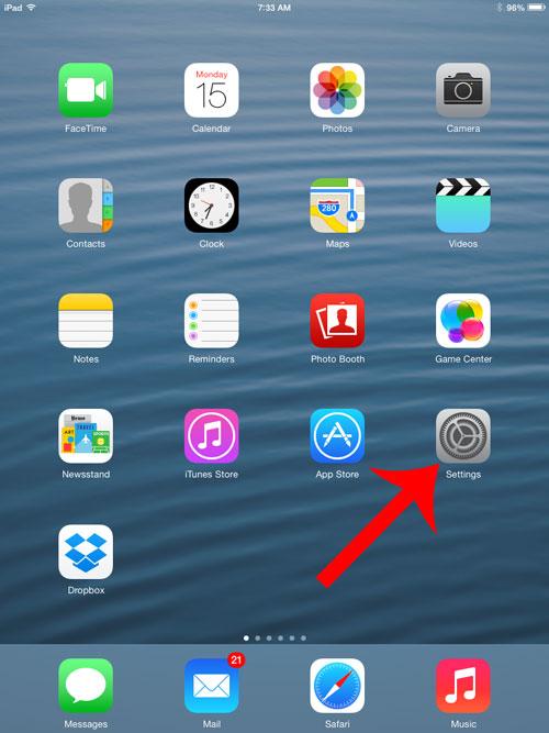 откройте меню настроек ipad