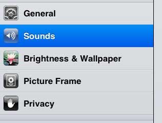 выберите опцию звуков в левой части экрана