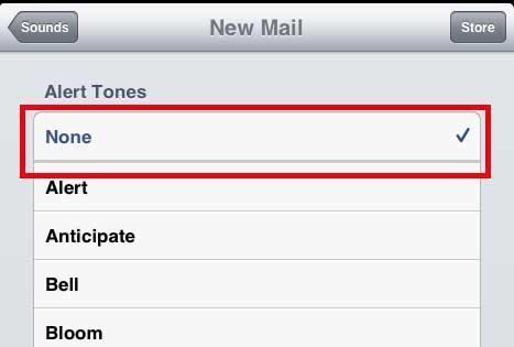 отключить звук уведомления о новой почте ipad