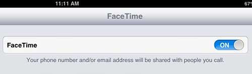 Включить опцию FaceTime