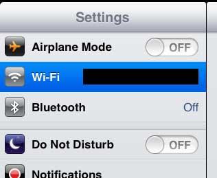 открыть меню Wi-Fi