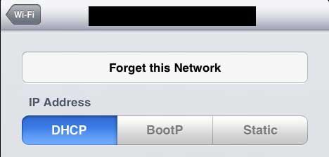 как забыть сеть на ipad 2