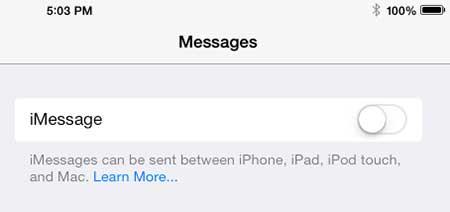 прекратить получать текстовые сообщения на Ipad 2 в IOS 7