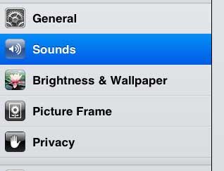 откройте меню звуков ipad 2