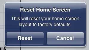 как сбросить макет домашнего экрана на ipad 2