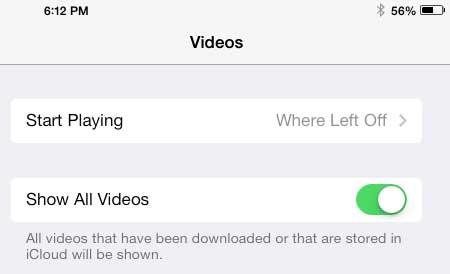 включить опцию показать все видео