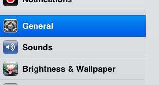 откройте главное меню iPad