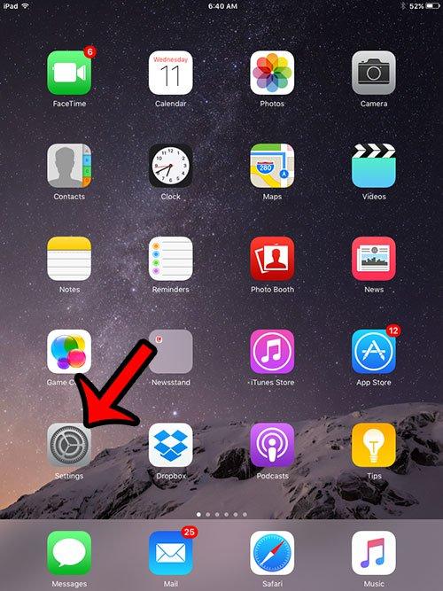 открыть меню настроек ipad