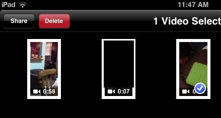 нажмите на видео, чтобы удалить, затем нажмите кнопку удаления
