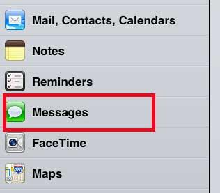 выберите опцию сообщений