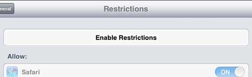 нажмите кнопку включения ограничений