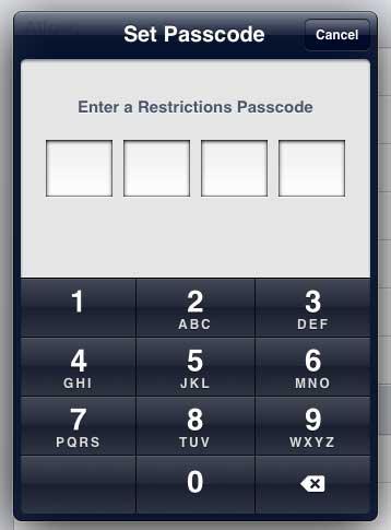 создать пароль ограничения