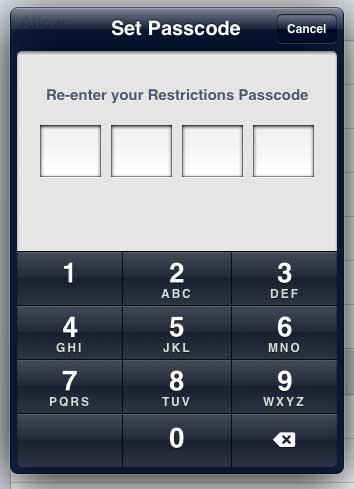 повторно введите пароль ограничения