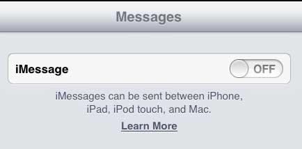 как перестать получать текстовые сообщения на iPad