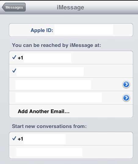 выберите только адреса электронной почты или номера телефонов, для которых вы хотите получать сообщения на ipad