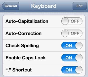 отключить опцию автокапитализации на iphone 5