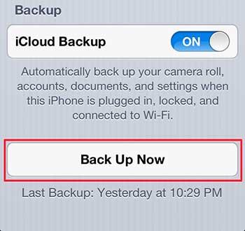 как сделать резервную копию в icloud на iphone 5