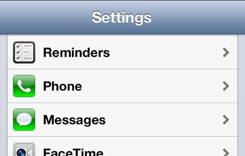 открыть настройки сообщения iphone 5
