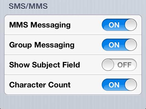 как показать количество символов на сообщениях iphone 5