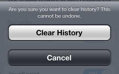 Подтвердите, что вы хотите очистить свою историю